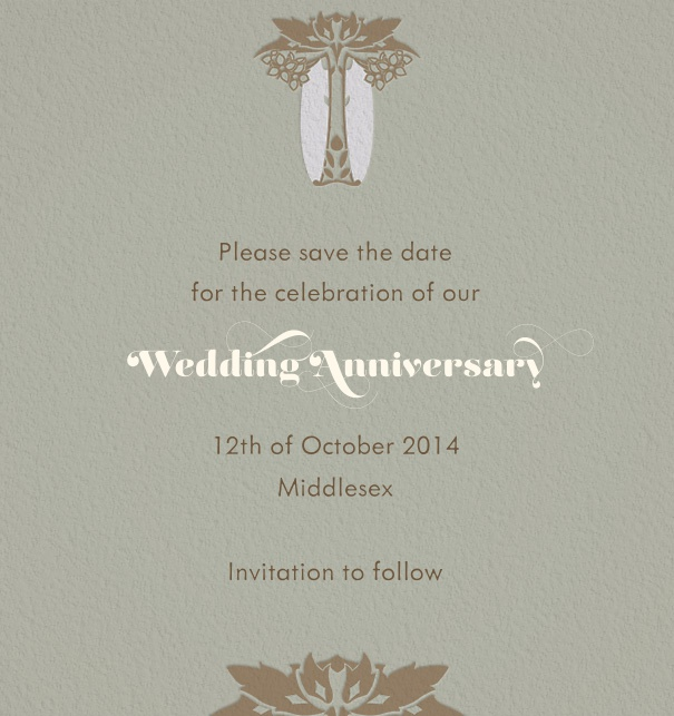 Grey Online Save the Date designed by Pepin Press with Art-Deco Motif on Top of bottom.