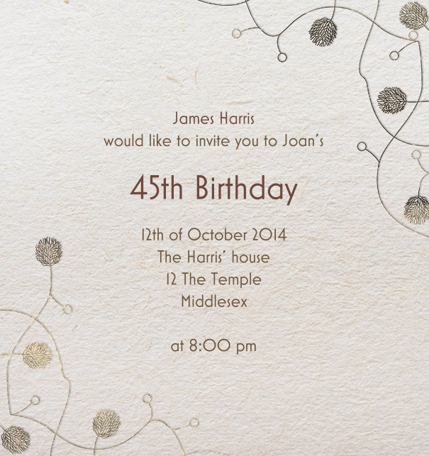 Online Invitation card with Art-Deco Corner design elements.