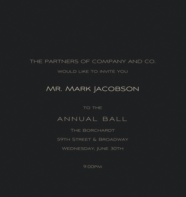Verticle Black Formal Corporate Invitation Online.