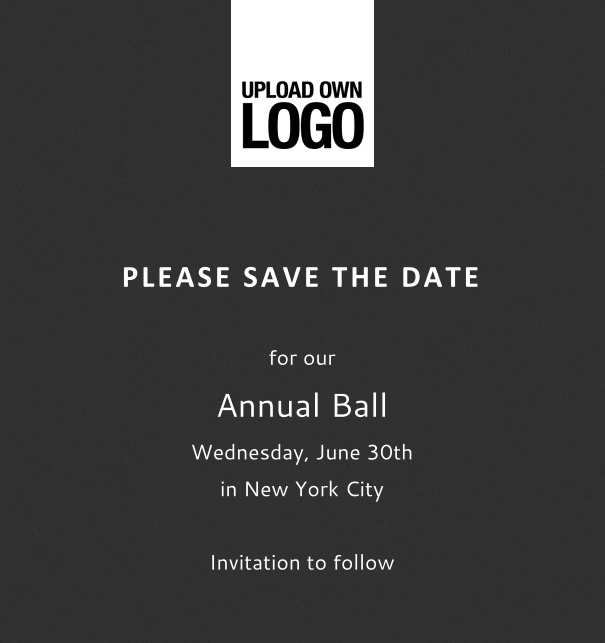 Rectangular online Save the Date template for corporate events and annual ball with grey background, space to upload own logo on top left and event details box.