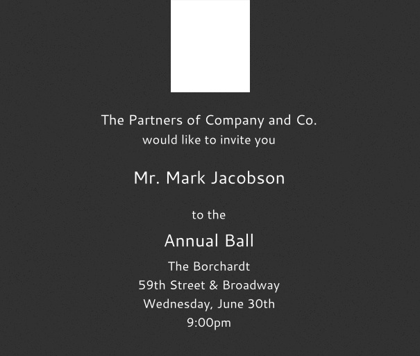 Black Formal Online Corporate Invitation with Logo and Formal Layout, for Corporate Events.