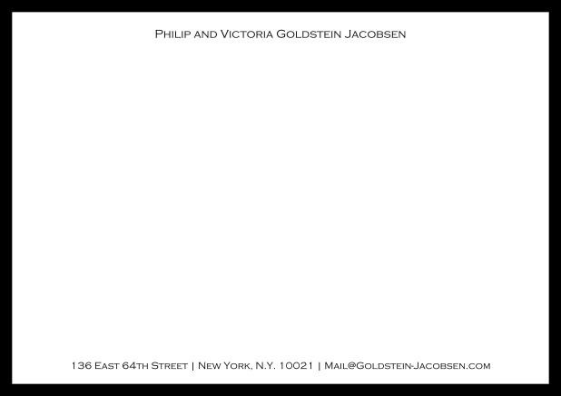 White online correspondence card with green frame and name with address. Black.