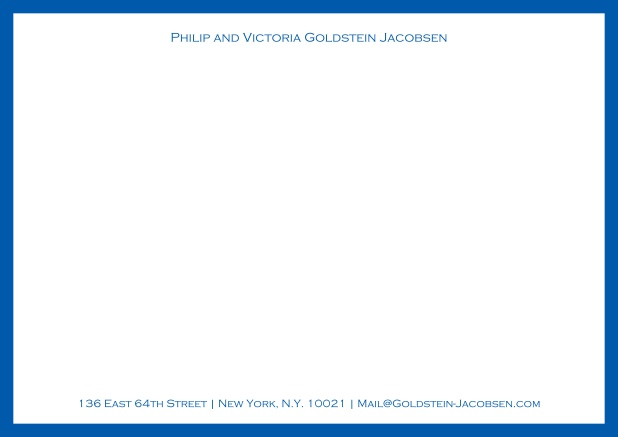 White online correspondence card with green frame and name with address. Blue.