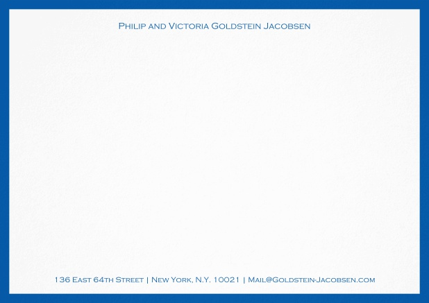 White correspondence card with green frame and name with address. Blue.