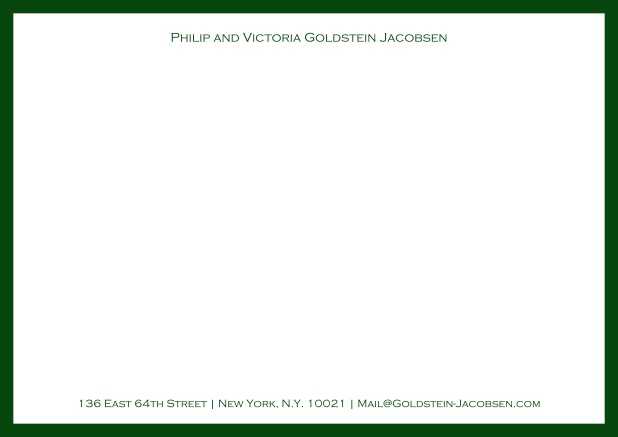 White online correspondence card with green frame and name with address. Green.
