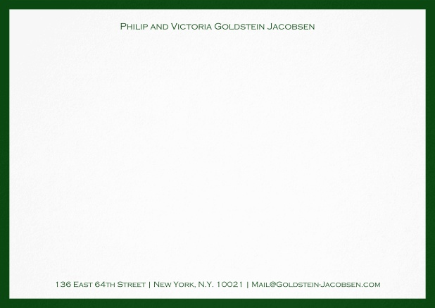 White correspondence card with green frame and name with address. Green.