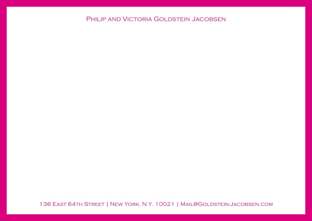 White online correspondence card with green frame and name with address. Pink.