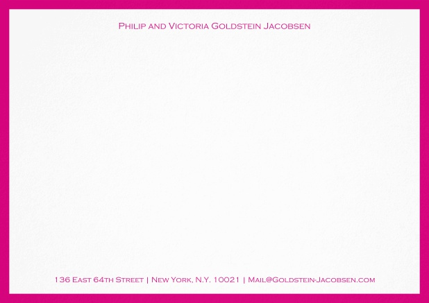 White correspondence card with green frame and name with address. Pink.