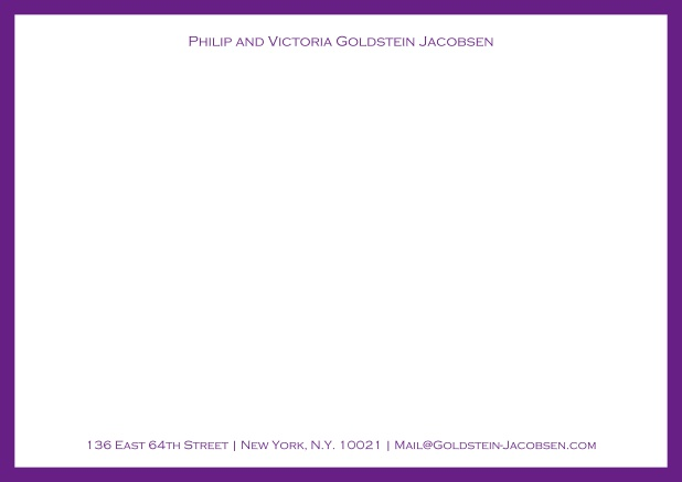 White online correspondence card with green frame and name with address. Purple.