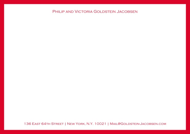 White online correspondence card with green frame and name with address. Red.