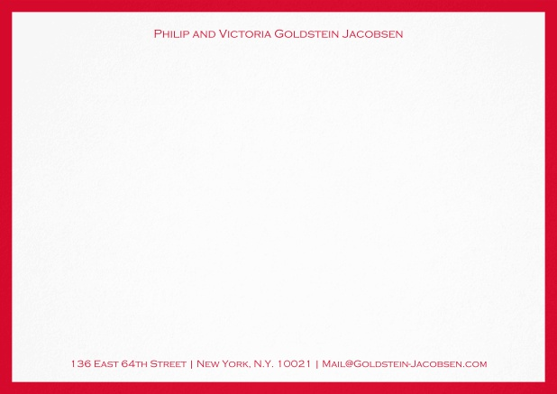 White correspondence card with green frame and name with address. Red.