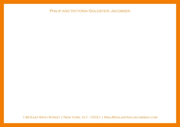 White online correspondence card with green frame and name with address. Yellow.
