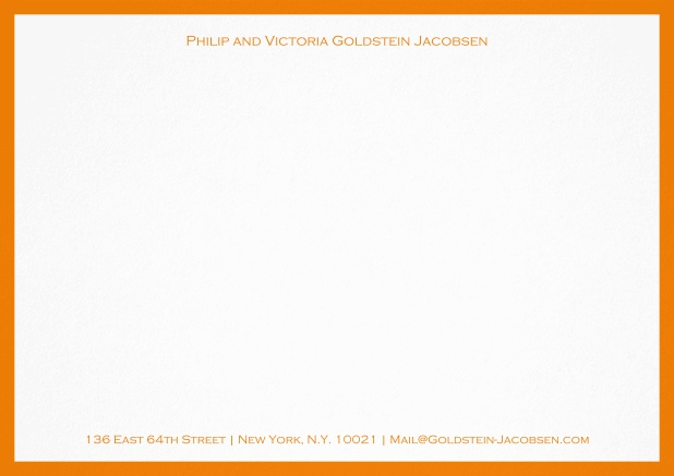 White correspondence card with green frame and name with address. Yellow.