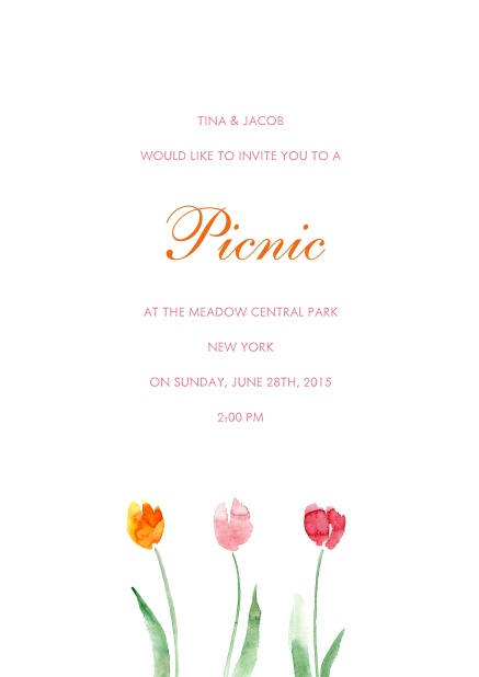 Online Invitation card with orange, pink and red flower.