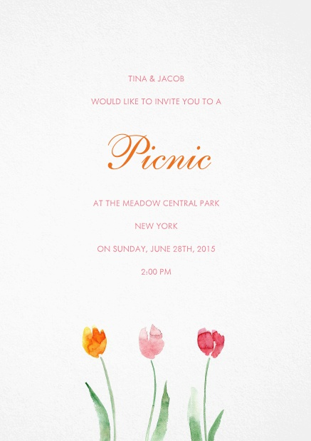 Invitation card with orange, pink and red flower.