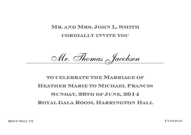 Online Classic invitation card with editable text in different colors. Black.
