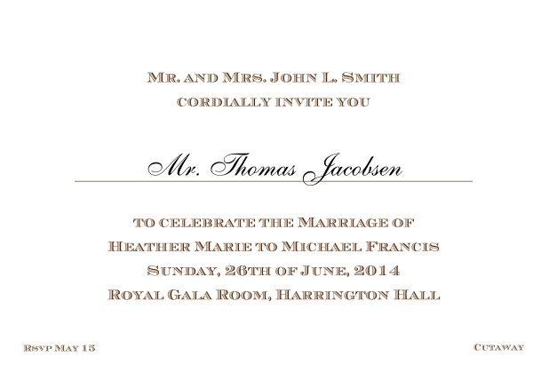 Online Classic invitation card with editable text in different colors. Brown.