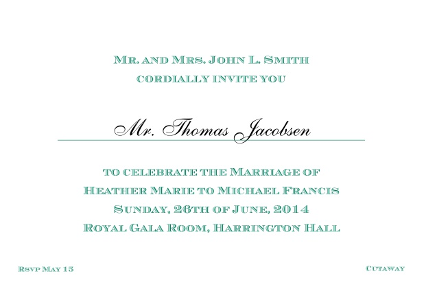 Online Classic invitation card with editable text in different colors. Green.