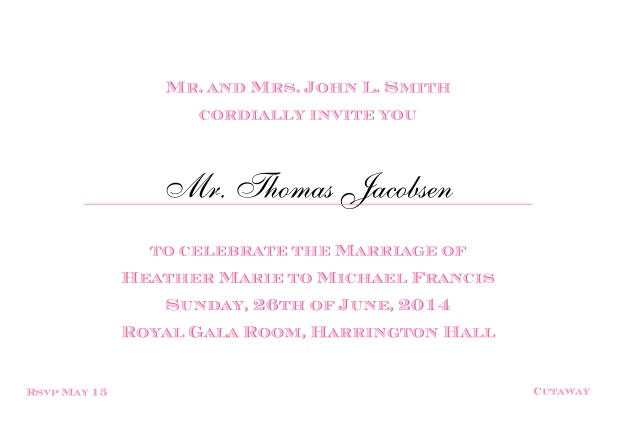 Online Classic invitation card with editable text in different colors. Pink.
