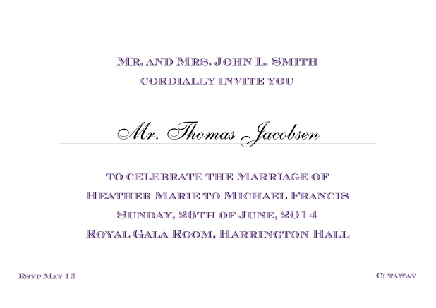Online Classic invitation card with editable text in different colors. Purple.