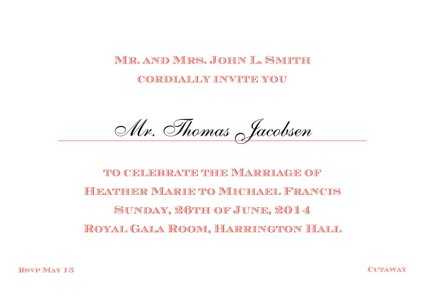 Online Classic invitation card with editable text in different colors. Red.
