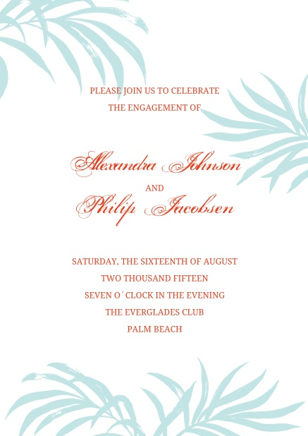 Online Wedding invitation card with several palm branches and editable text.