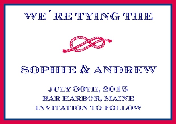 Online Wedding Save the date card with red rope in a knot, blue-red frame and text field.