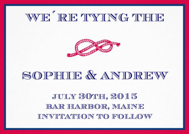 Wedding Save the date card with red rope in a knot, blue-red frame and text field.
