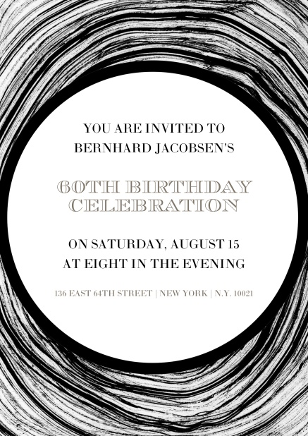 Online invitation in circles for 60th birthday.