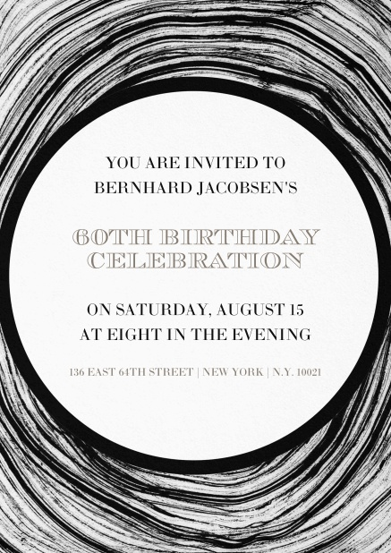 Invitation in circles for 60th birthday.