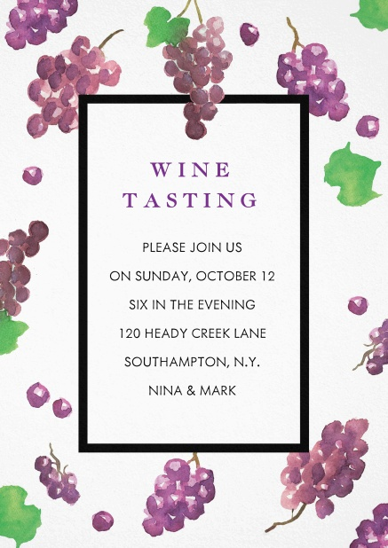 Invitation card design with grapes, great for wine tasting and vendanges.