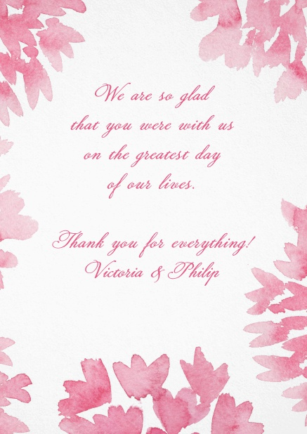 Thank you card with pink water color flowers.