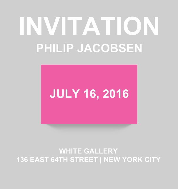 Corporate online invitation card with modern look and color emphasized box. Pink.