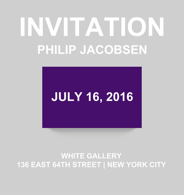 Corporate online invitation card with modern look and color emphasized box. Purple.