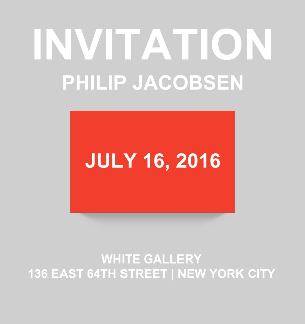 Corporate online invitation card with modern look and color emphasized box. Red.