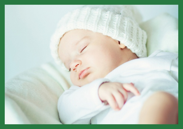 Online Christening invitation card with photo and frame in customizable colors. Green.