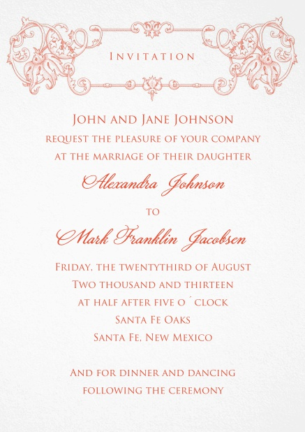 Formal Invitation card for weddings and precious birthday invitations with red deco at the top.
