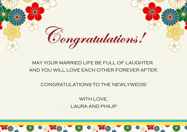 Online congratulations card with colorful flowers.
