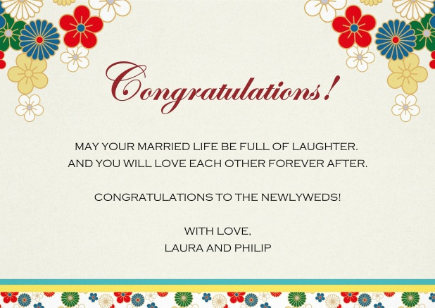 Paper congratulations card with colorful flowers.