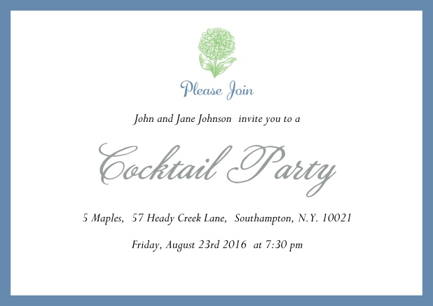 Online Cocktail party invitation card with flower and colorful frame. Blue.