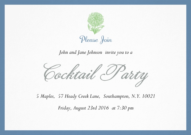 Cocktail party invitation card with flower and colorful frame. Blue.