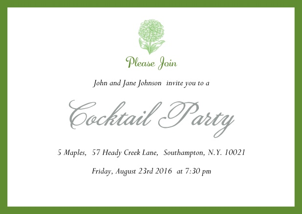 Online Cocktail party invitation card with flower and colorful frame. Green.