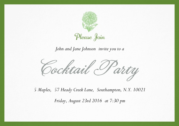 Cocktail party invitation card with flower and colorful frame. Green.