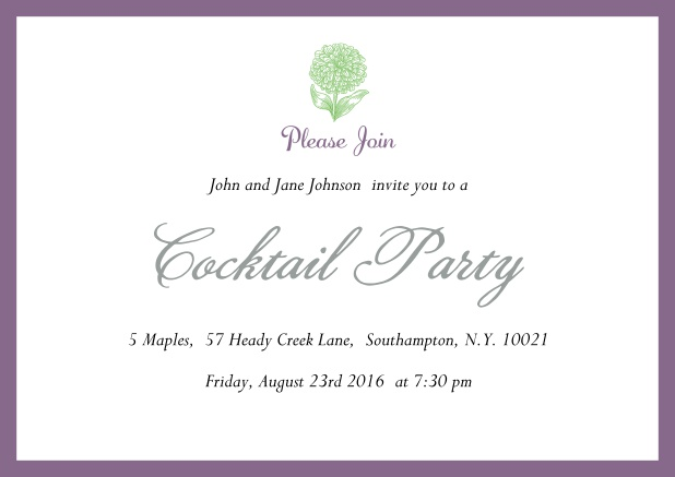 Online Cocktail party invitation card with flower and colorful frame. Purple.