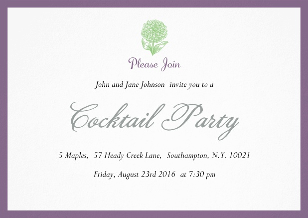 Cocktail party invitation card with flower and colorful frame. Purple.