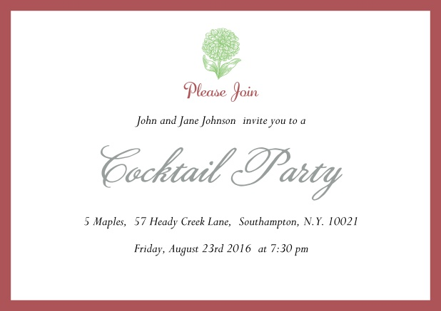 Online Cocktail party invitation card with flower and colorful frame. Red.