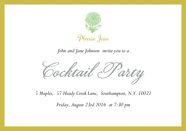 Online Cocktail party invitation card with flower and colorful frame. Yellow.