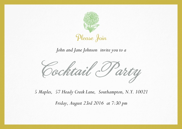 Cocktail party invitation card with flower and colorful frame. Yellow.