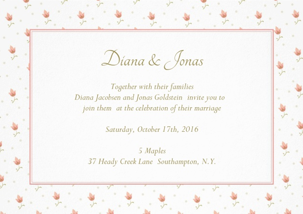 Wedding invitation card with charming frame with red flowers