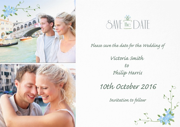 Wedding save the date card with photo and delicate flowers